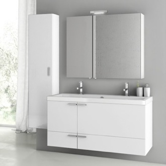 Bathroom Vanity 47 Inch Glossy White Bathroom Vanity Set ACF ANS218