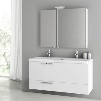 Bathroom Vanity 47 Inch Glossy White Bathroom Vanity Set ACF ANS216