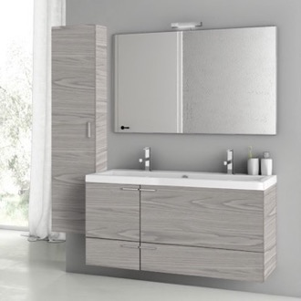Bathroom Vanity 47 Inch Grey Walnut Bathroom Vanity Set ACF ANS1404