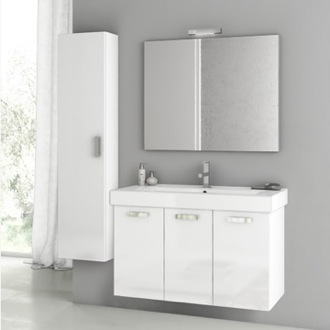 Bathroom Vanity 39 Inch Glossy White Bathroom Vanity Set ACF C49