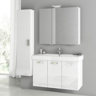 Bathroom Vanity 39 Inch Glossy White Bathroom Vanity Set ACF C95
