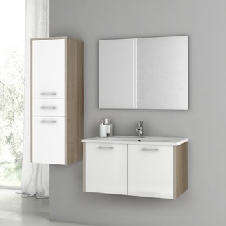 Bathroom Vanity 33 Inch Glossy White and Larch Canapa Bathroom Vanity Set ACF NI05