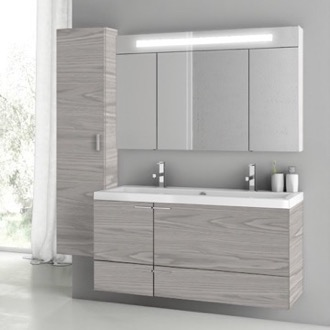 Bathroom Vanity 47 Inch Grey Walnut Bathroom Vanity Set ACF ANS1412