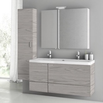 Bathroom Vanity 47 Inch Grey Walnut Bathroom Vanity Set ACF ANS1413
