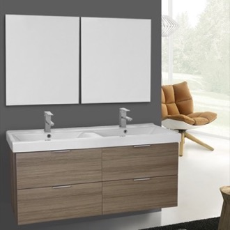 Bathroom Vanity 47 Inch Larch Canapa Wall Mounted Bathroom Vanity Set, Vanity Mirror Included ARCOM DF07