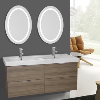 Bathroom Vanity 47 Inch Larch Canapa Wall Mounted Bathroom Vanity Set, Lighted Vanity Mirror Included ARCOM DF11