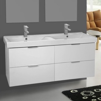 Bathroom Vanity 47 Inch Wall Mount Ash White Double Vanity Cabinet With  Fitted Sink ARCOM DF02