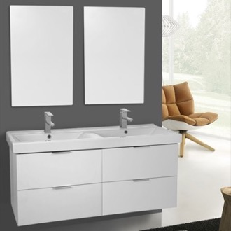 Bathroom Vanity 47 Inch Ash White Wall Mounted Bathroom Vanity Set, Vanity Mirror Included ARCOM DF20