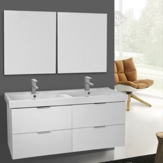 Bathroom Vanity 47 Inch Ash White Wall Mounted Bathroom Vanity Set, Vanity Mirror Included ARCOM DF22