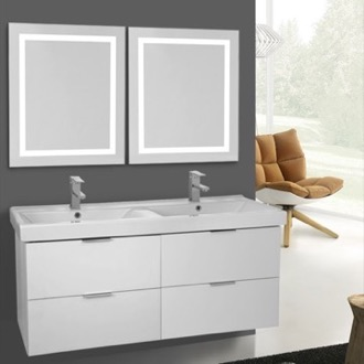 Bathroom Vanity 47 Inch Ash White Wall Mounted Bathroom Vanity Set, Lighted Vanity Mirror Included ARCOM DF24