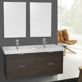 Bathroom Vanity 47 Inch Grey Oak Wall Mounted Bathroom Vanity Set, Vanity Mirror Included ARCOM DF35