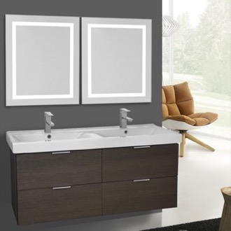 Bathroom Vanity 47 Inch Grey Oak Wall Mounted Bathroom Vanity Set, Lighted Vanity Mirror Included ARCOM DF39