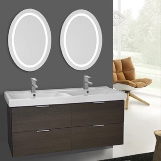 Bathroom Vanity 47 Inch Grey Oak Wall Mounted Bathroom Vanity Set, Lighted Vanity Mirror Included ARCOM DF41