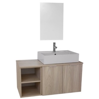 Bathroom Vanity 41 Inch Light Yosemite Wall Mounted Bathroom Vanity Set, Vanity Mirror Included ARCOM ES20
