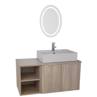 Bathroom Vanity 41 Inch Light Yosemite Wall Mounted Bathroom Vanity Set, Lighted Vanity Mirror Included ARCOM ES36