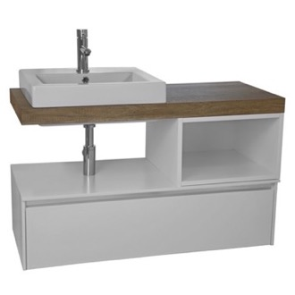 Bathroom Vanity 41 White With Aged Brown Top Wall Mounted Bathroom Vanity Set ARCOM LAF00