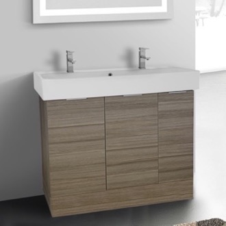 Bathroom Vanity 40 Inch Floor Standing Larch Canapa Double Vanity Cabinet With Fitted Sink ARCOM O4T03
