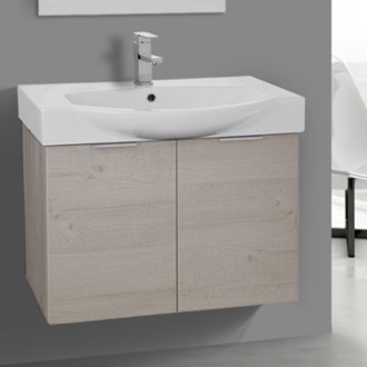 28 Inch Wall Mount Natural Vanity Cabinet With Fitted Curved Sink