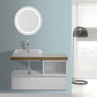 Bathroom Vanity 41 Inch White With Aged Brown Top Wall Mounted Bathroom Vanity Set, Lighted Vanity Mirror Included ARCOM LAF09