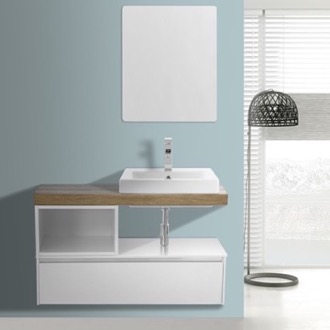 Bathroom Vanity 41 Inch White With Aged Brown Top Wall Mounted Bathroom Vanity Set, Vanity Mirror Included ARCOM LAF23