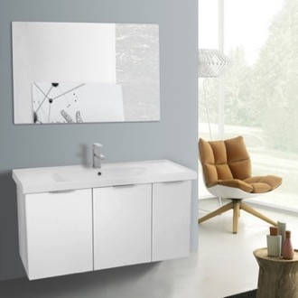 Bathroom Vanity 39 Inch Larch White Wall Mounted Bathroom Vanity Set, Vanity Mirror Included ARCOM LAM23