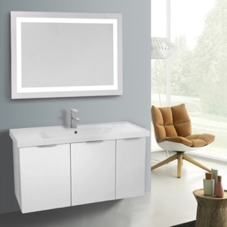 Bathroom Vanity 39 Inch Larch White Wall Mounted Bathroom Vanity Set, Lighted Vanity Mirror Included ARCOM LAM29