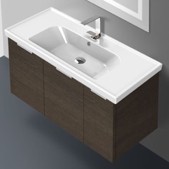 Bathroom Vanity 39 Inch Wall Mount Grey Oak Vanity Cabinet With Fitted Sink ARCOM LAM03
