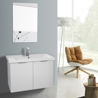 Bathroom Vanity 32 Inch Larch White Wall Mounted Bathroom Vanity Set, Vanity Mirror Included ARCOM LAM71