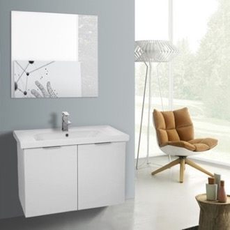 Bathroom Vanity 32 Inch Larch White Wall Mounted Bathroom Vanity Set, Vanity Mirror Included ARCOM LAM75