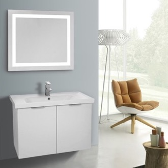Bathroom Vanity 32 Inch Larch White Wall Mounted Bathroom Vanity Set, Lighted Vanity Mirror Included ARCOM LAM79