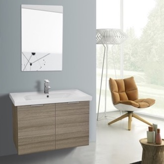 Bathroom Vanity 32 Inch Larch Canapa Wall Mounted Bathroom Vanity Set, Vanity Mirror Included ARCOM LAM53