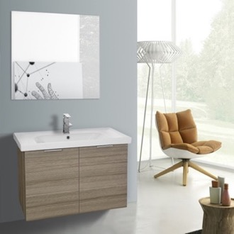 Bathroom Vanity 32 Inch Larch Canapa Wall Mounted Bathroom Vanity Set, Vanity Mirror Included ARCOM LAM57