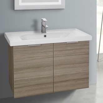 Bathroom Vanity 31 Inch Wall Mount Larch Canapa Vanity Cabinet With Fitted Sink ARCOM LAM04