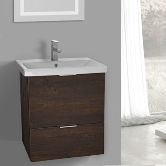 24 inch wall mount sherwood burn vanity cabinet with fitted sink - Luxurious Bathroom Vanity