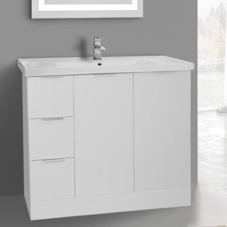 Bathroom Vanity 39 Inch Floor Standing Glossy White Vanity Cabinet With Fitted Sink ARCOM WA06