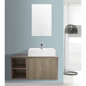 Bathroom Vanity 41 Inch Light Yosemite Wall Mounted Bathroom Vanity Set, Vanity Mirror Included ARCOM ES21