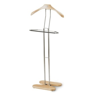 Valet Stand Chromed Steel Natural Wood Valet Stand Aris 471-N