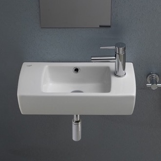 Bathroom Sink Small Rectangular Ceramic Wall Mounted or Drop In Bathroom Sink CeraStyle 001500-U