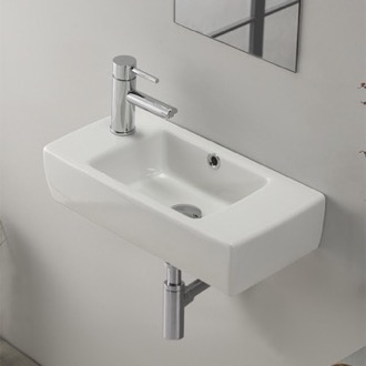 Bathroom Sink Small Rectangular Ceramic Wall Mounted or Drop In Bathroom Sink CeraStyle 001600-U