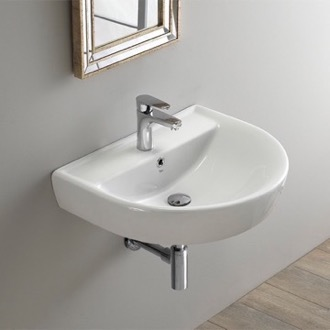 Bathroom Sink Round White Ceramic Wall Mounted Sink CeraStyle 003100-U
