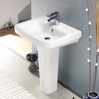 Bathroom Sink Rectangular White Ceramic Pedestal Sink CeraStyle 007700U-PED