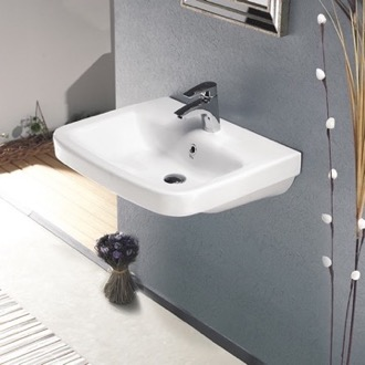 Bathroom Sink Rectangular White Ceramic Wall Mounted or Drop In Sink CeraStyle 007700-U