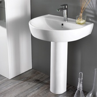 Bathroom Sink Round White Ceramic Pedestal Sink CeraStyle 007800U-PED