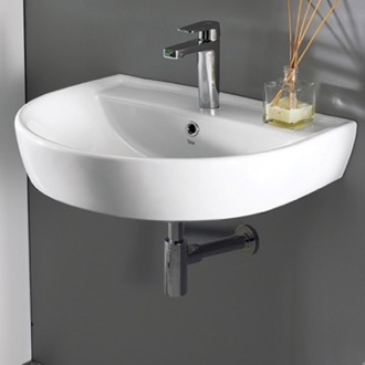 Bathroom Sink Round White Ceramic Wall Mounted Sink CeraStyle 007800-U