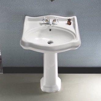 Bathroom Sink Classic-Style White Ceramic Pedestal Sink CeraStyle 030200-PED