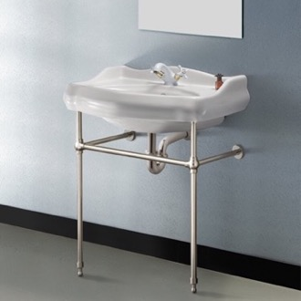 Bathroom Sink Traditional Ceramic Console Sink With Satin Nickel Stand CeraStyle 030200-CON-SN