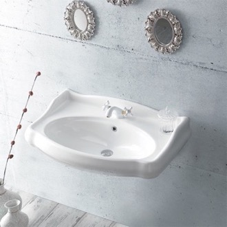 Bathroom Sink Rectangle White Ceramic Wall Mounted Sink CeraStyle 030300-U
