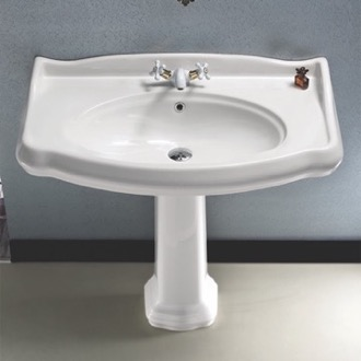 Bathroom Sink Classic-Style White Ceramic Pedestal Sink CeraStyle 030400-PED
