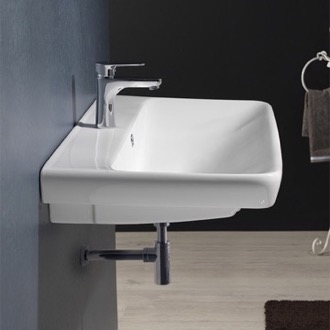 Bathroom Sink Rectangle White Ceramic Wall Mounted or Drop In Sink CeraStyle 030600-U