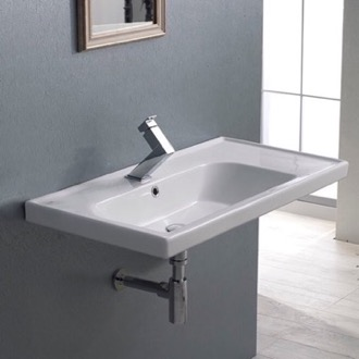 Bathroom Sink Rectangular Ceramic Wall Mounted or Drop In Sink With Counter Space CeraStyle 031100-U